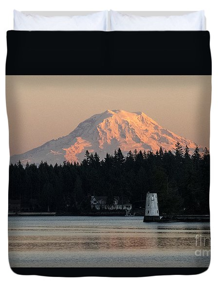 Mt Rainier Alpine Glow I Duvet Cover