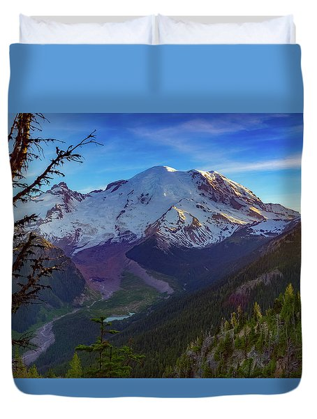 Mt Rainier At Emmons Glacier Duvet Cover by Ken Stanback