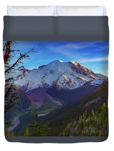 Duvet Cover featuring the photograph Mt Rainier At Emmons Glacier by Ken Stanback