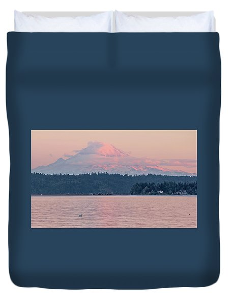 Mt. Rainier At Sunset Duvet Cover