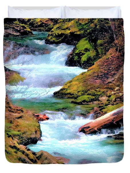 Mt Rainier Cascades, Fine Art Print Duvet Cover