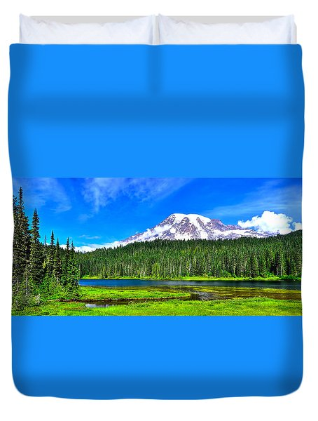Mt. Rainier From Reflection Lakes Duvet Cover