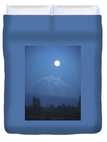 Mt Rainier Full Moon Duvet Cover