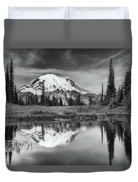 Mt Rainier In Reflection Duvet Cover