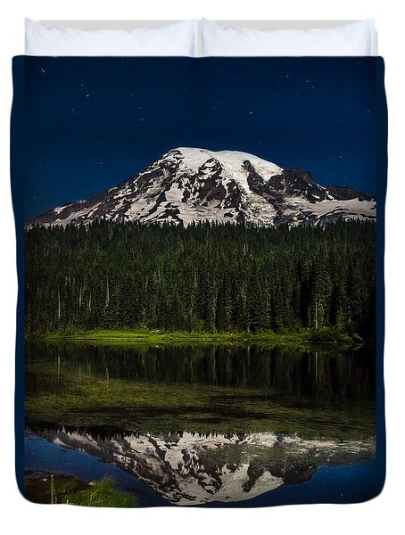 Duvet Cover featuring the photograph Mt Rainier In Reflections Lake At Night by Rob Green