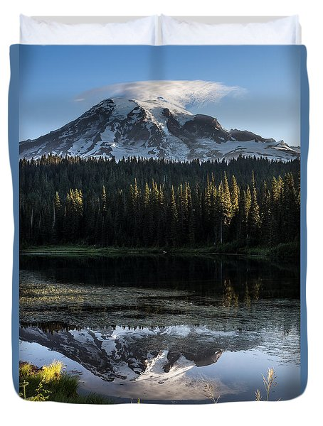 Duvet Cover featuring the photograph Mt Rainier In Reflections Lake At Sunrise by Rob Green