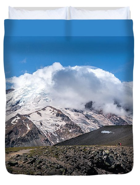 Mt Rainier In The Clouds Duvet Cover