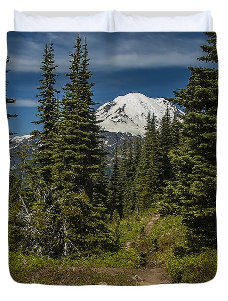 Mt. Rainier Naches Trail Portrait Duvet Cover