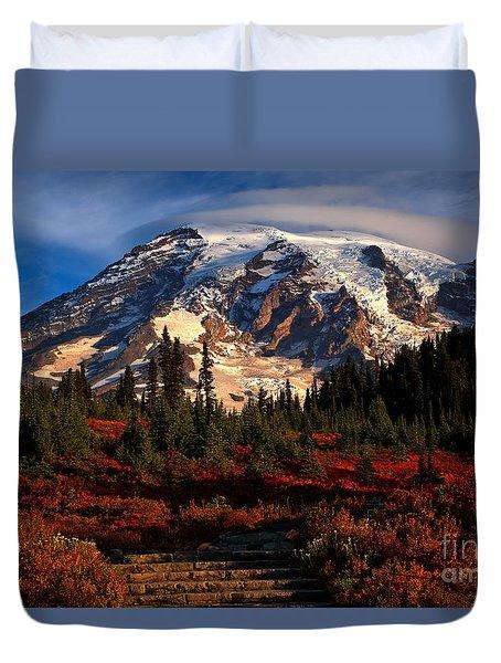 Mt. Rainier Paradise Morning Duvet Cover