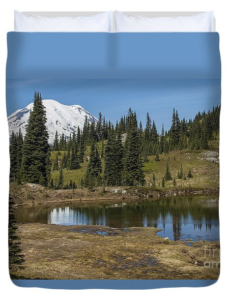 Mt Rainier Reflection Landscape Duvet Cover