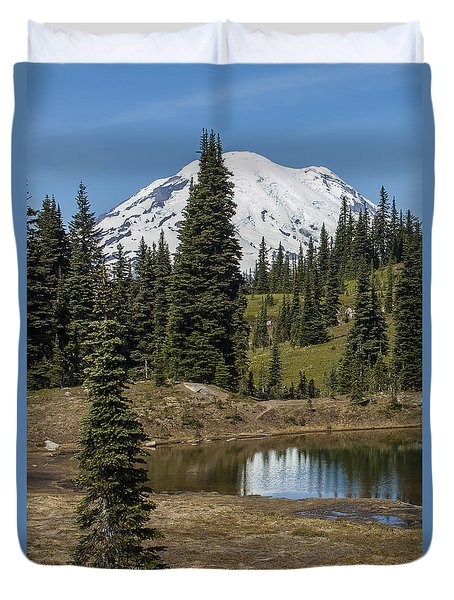 Mt Rainier Reflection Portrait Duvet Cover