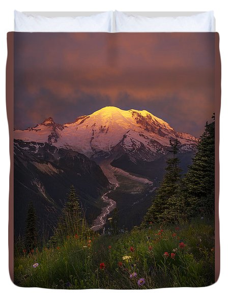 Mt. Rainier Sunrise Duvet Cover