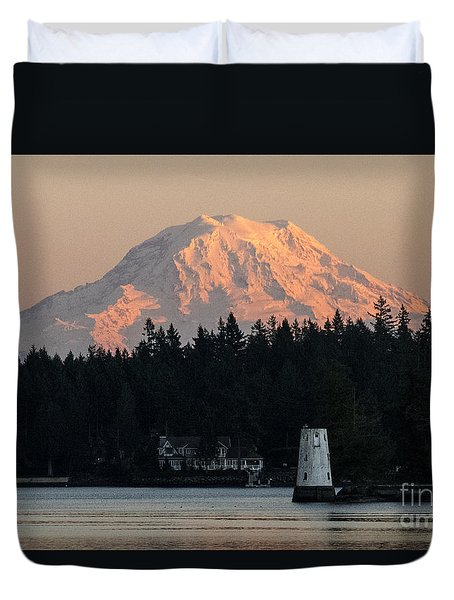 Mt. Rainier Sunset Glow Duvet Cover
