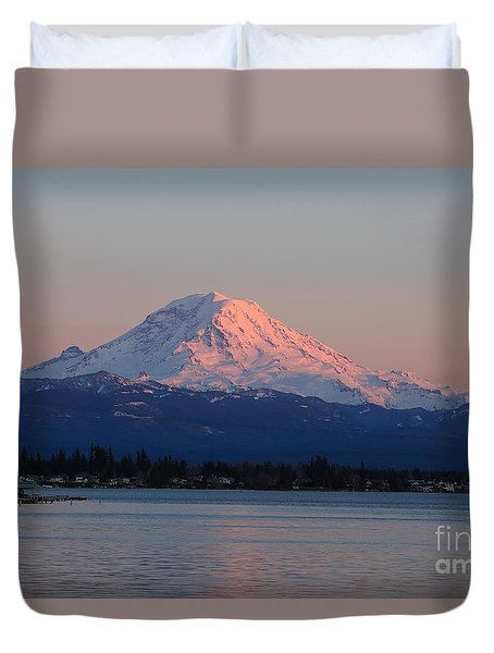 Duvet Cover featuring the photograph Mt Rainier Sunset by Peter Simmons