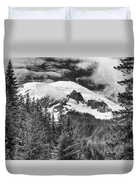 Duvet Cover featuring the photograph Mt Rainier View - Bw by Stephen Stookey