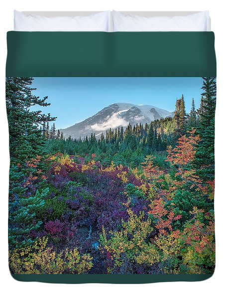 Mt Rainier With Autumn Colors Duvet Cover