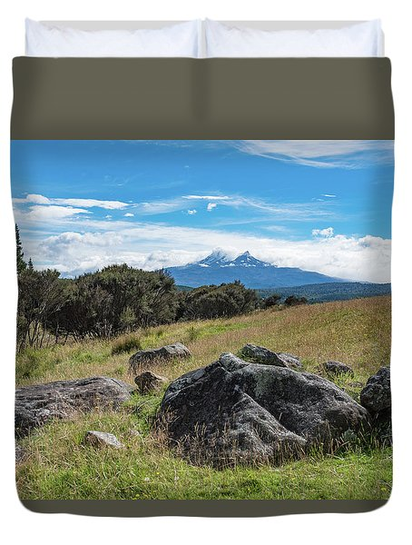 Duvet Cover featuring the photograph Mt Ruapehu View by Gary Eason