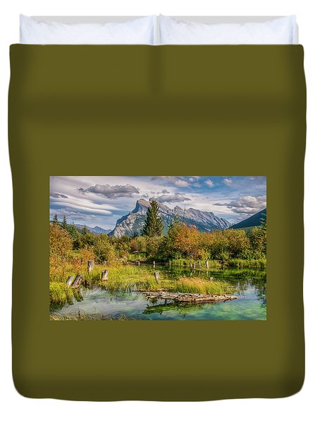 Duvet Cover featuring the photograph Mt. Rundle 2009 03 by Jim Dollar
