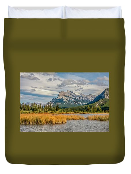 Duvet Cover featuring the photograph Mt. Rundle 2009 05 by Jim Dollar
