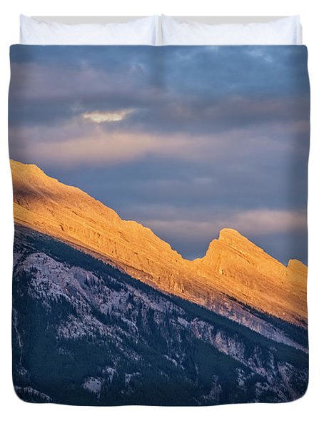 Mt Rundle Sunset Banff Duvet Cover