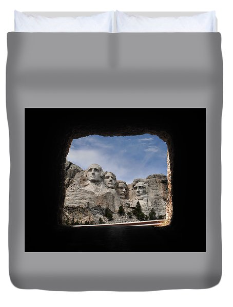 Duvet Cover featuring the photograph Mt Rushmore Tunnel by David Lawson
