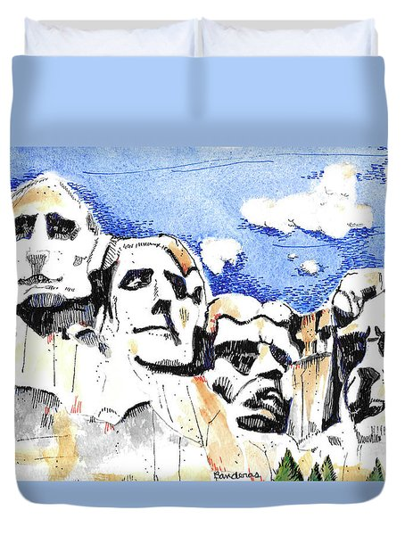 Duvet Cover featuring the painting Mt. Rushmore, Usa by Terry Banderas