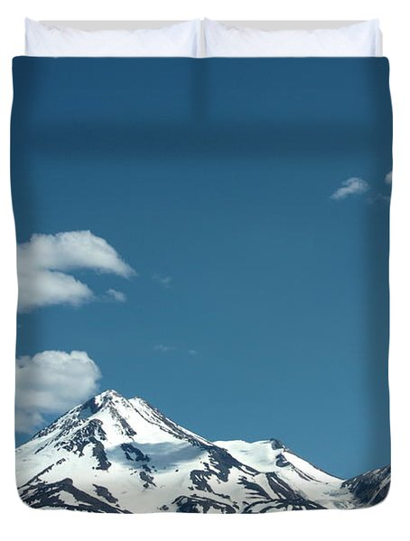 Mt Shasta With Heart-shaped Cloud Duvet Cover by Carol Groenen
