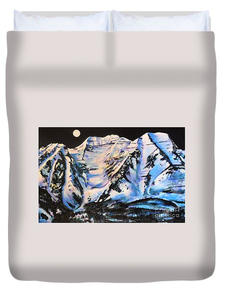 Mt. Timpanogos Under A Full Moon Duvet Cover