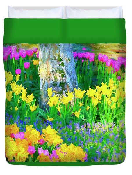 Mt Vernon Tulip Garden 1 Duvet Cover