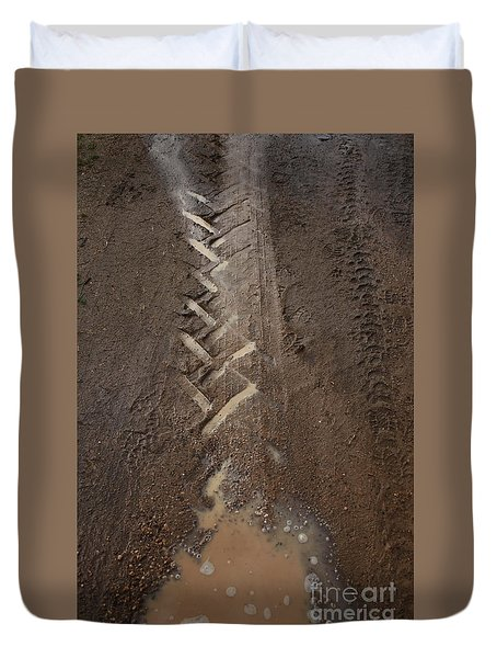 Duvet Cover featuring the photograph Mud Escape by Stephen Mitchell