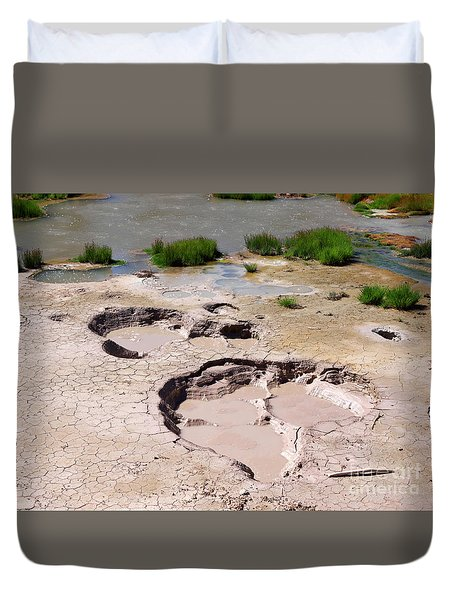 Mud Volcano Area In Yellowstone National Park Duvet Cover by Louise Heusinkveld