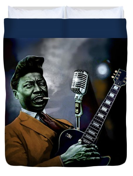 Duvet Cover featuring the mixed media Muddy Waters - Mick Jagger's Grandfather by Dan Haraga