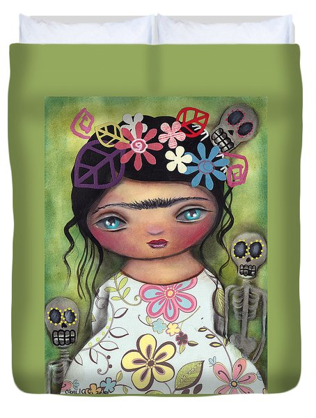Muertos Fest Duvet Cover by Abril Andrade Griffith