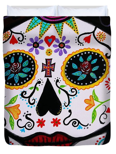 Duvet Cover featuring the painting Muertos by Pristine Cartera Turkus