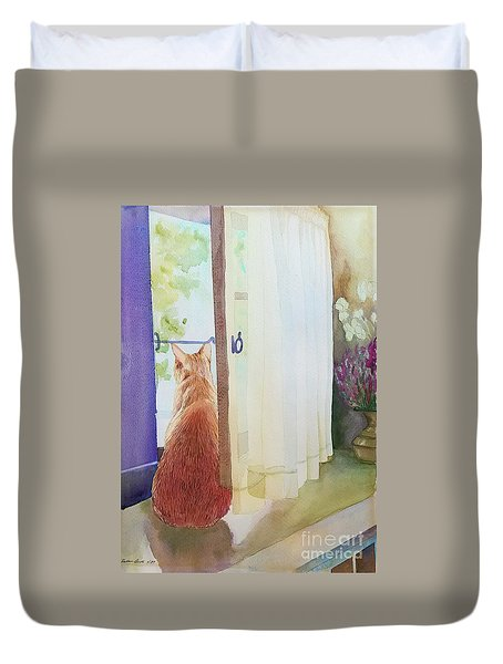 Muffin At Window Duvet Cover