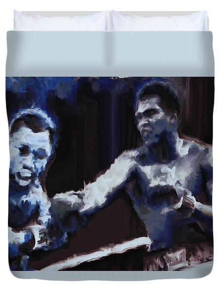 Duvet Cover featuring the digital art Muhammad Ali And Joe Frazier Under The Blue Lights by Brian Reaves