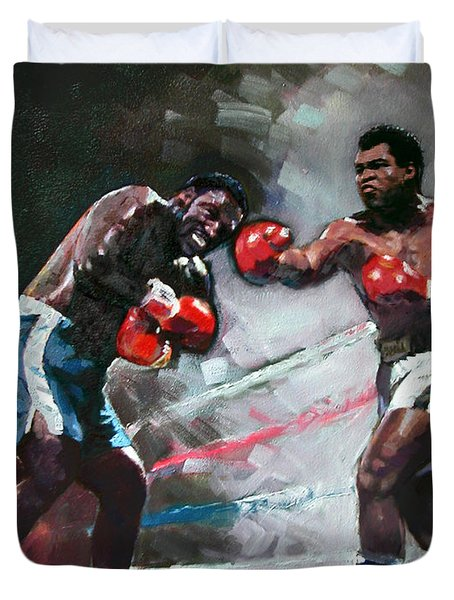 Muhammad Ali And Joe Frazier Duvet Cover by Ylli Haruni