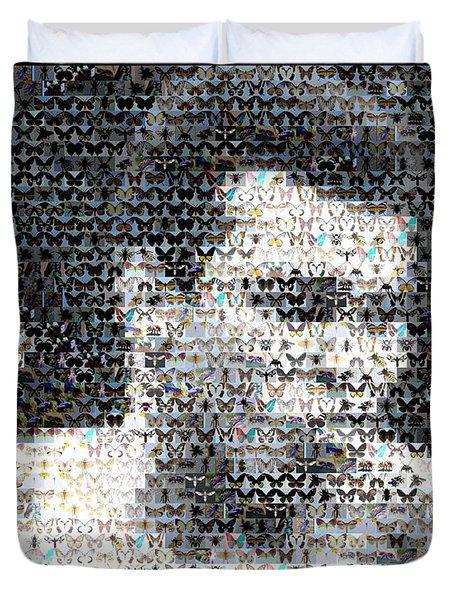Muhammad Ali Butterfly Bee Mosaic Duvet Cover by Paul Van Scott