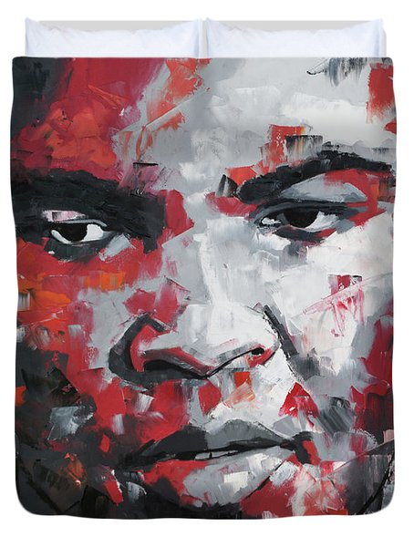 Duvet Cover featuring the painting Muhammad Ali II by Richard Day