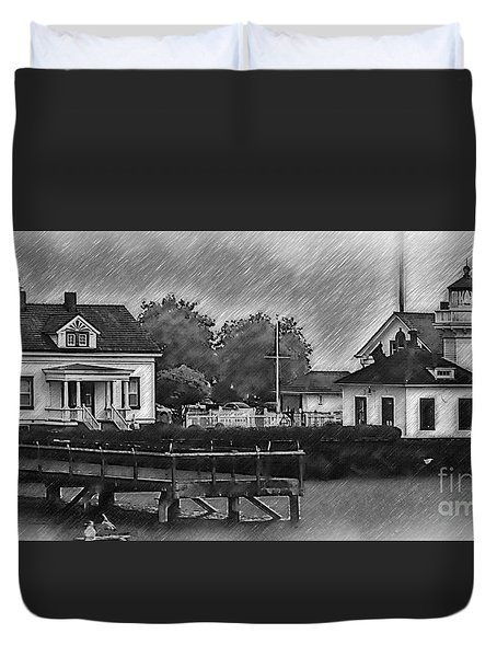 Mukilteo Lighthouse And The Dock Duvet Cover