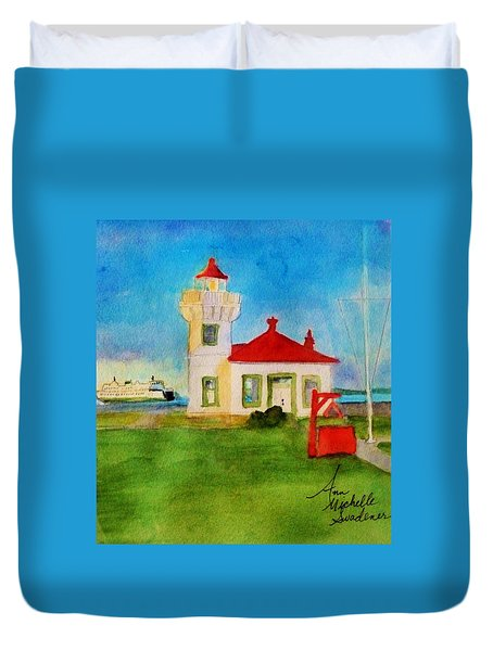 Mukilteo Lighthouse As The Sunsets Duvet Cover