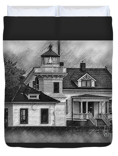 Mukilteo Lighthouse Sketched Duvet Cover