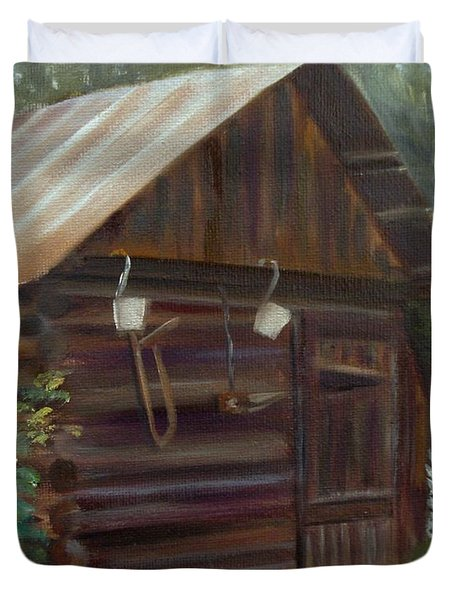 Duvet Cover featuring the painting Mulberry Farms Grainery by Donna Tuten