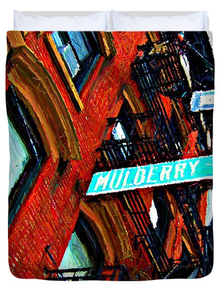 Mulberry Street Sketch Duvet Cover by Randy Aveille