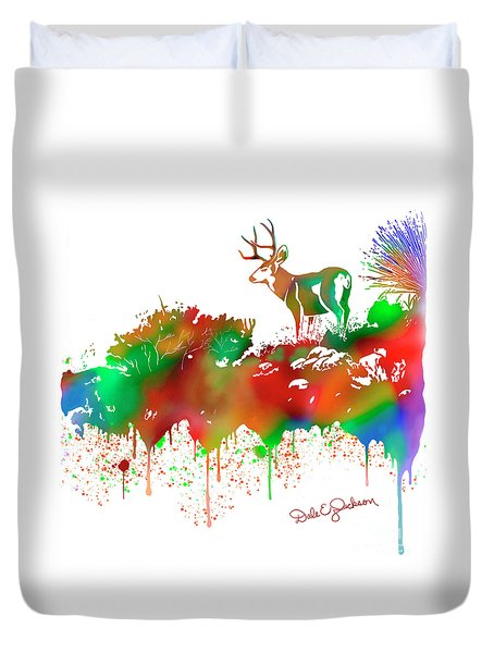 Mule Deer Buck Skyline Drip Pop Art II Duvet Cover
