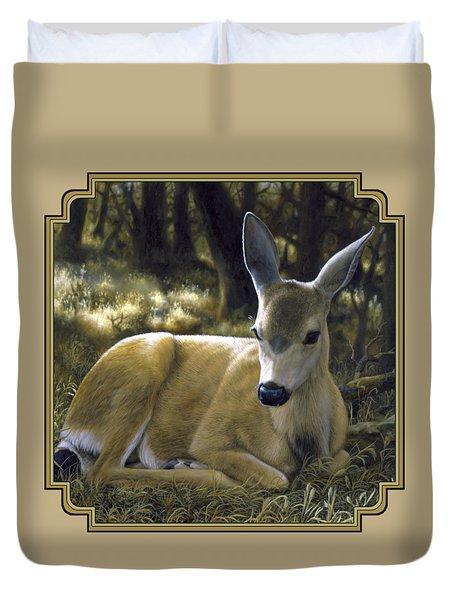 Mule Deer Fawn - A Quiet Place Duvet Cover