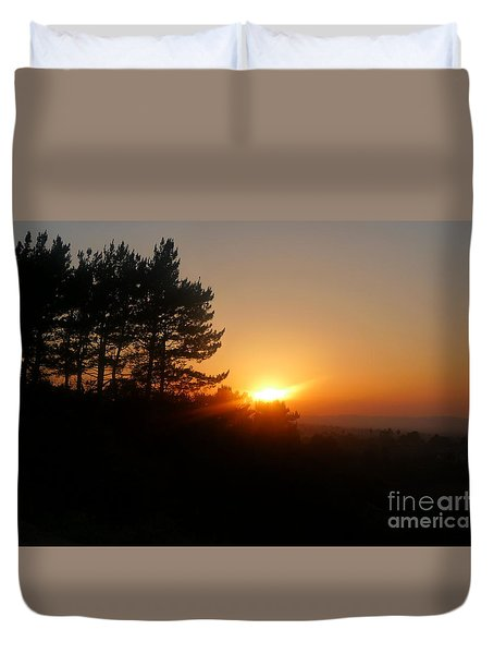 Mulholland Sunset And Silhouette Duvet Cover
