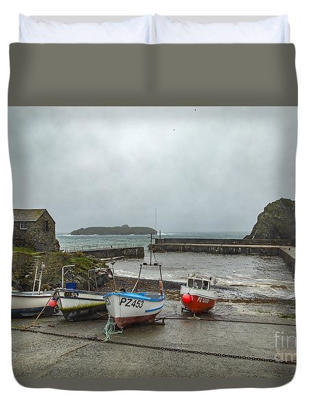 Duvet Cover featuring the photograph Mullion Cove Harbour by Brian Roscorla
