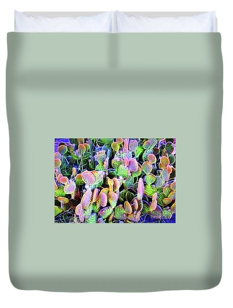 Duvet Cover featuring the digital art Multi-color Artistic Beaver Tail Cactus by Linda Phelps