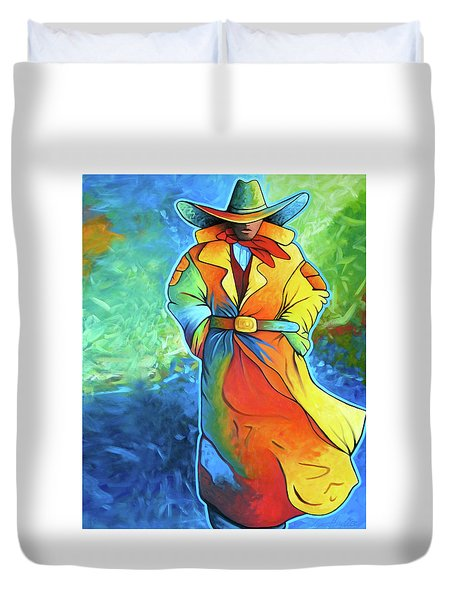 Multi Color Cowboy Duvet Cover by Lance Headlee